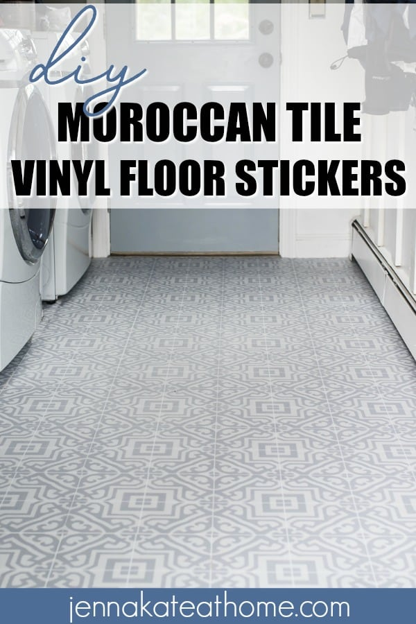 This peel and sticky vinyl Moroccan tile is the perfect quick and easy flooring idea for a laundry room, mudroom, bathroom or kitchen. It's a weekend DIY project that will completely transform your outdated flooring! #jennakateathome