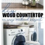 Inexpensive DIY wood countertop for the laundry room