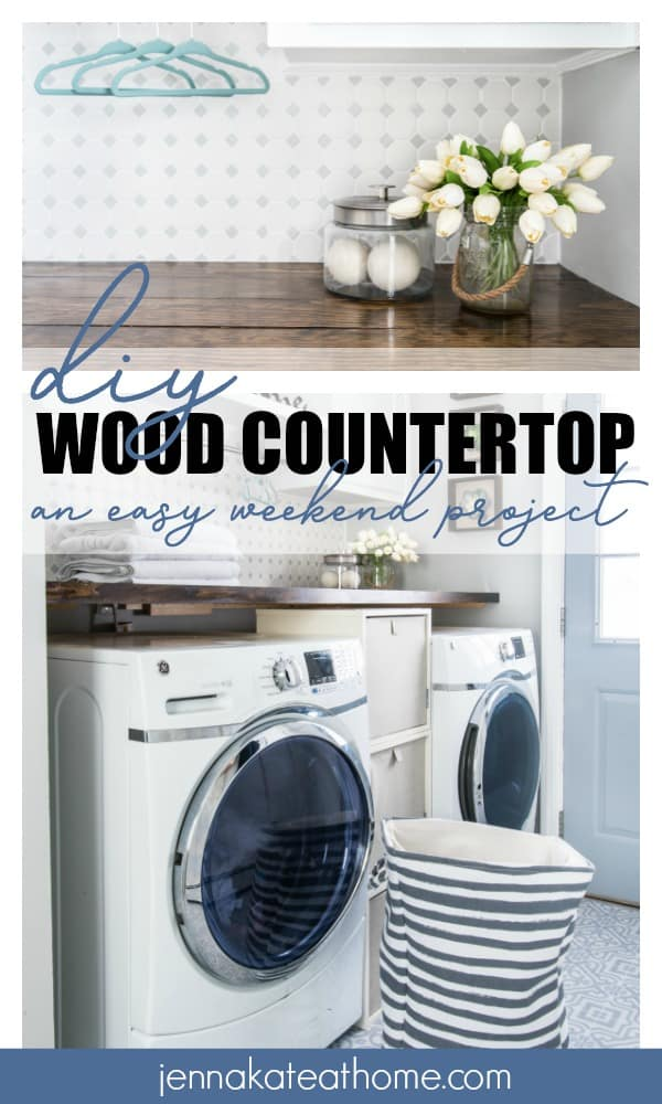Simple tutorial for adding a DIY wood countertop over a washer and dryer in a laundry room for less than $100!