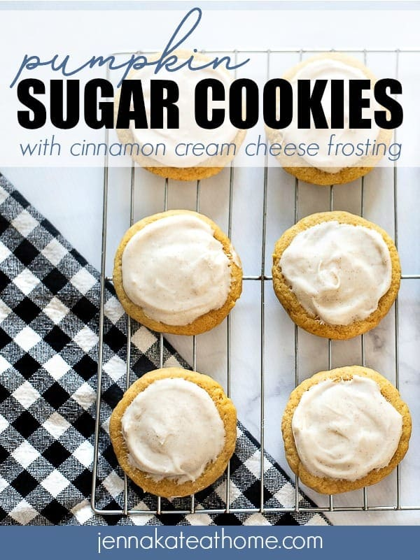 Easy pumpkin sugar cookies recipe - they are so soft with the perfect amount of pumpkin spice and a delicious cinnamon cream cheese frosting!