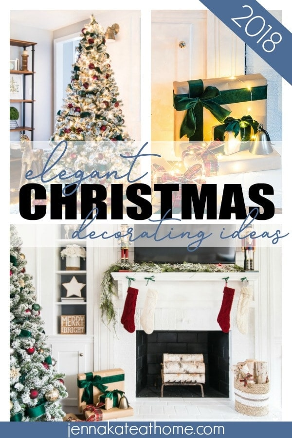 Elegant Christmas tree decorating ideas for 2018. Take traditional colors and new spin with green velvet ribbon and burgundy ornaments.