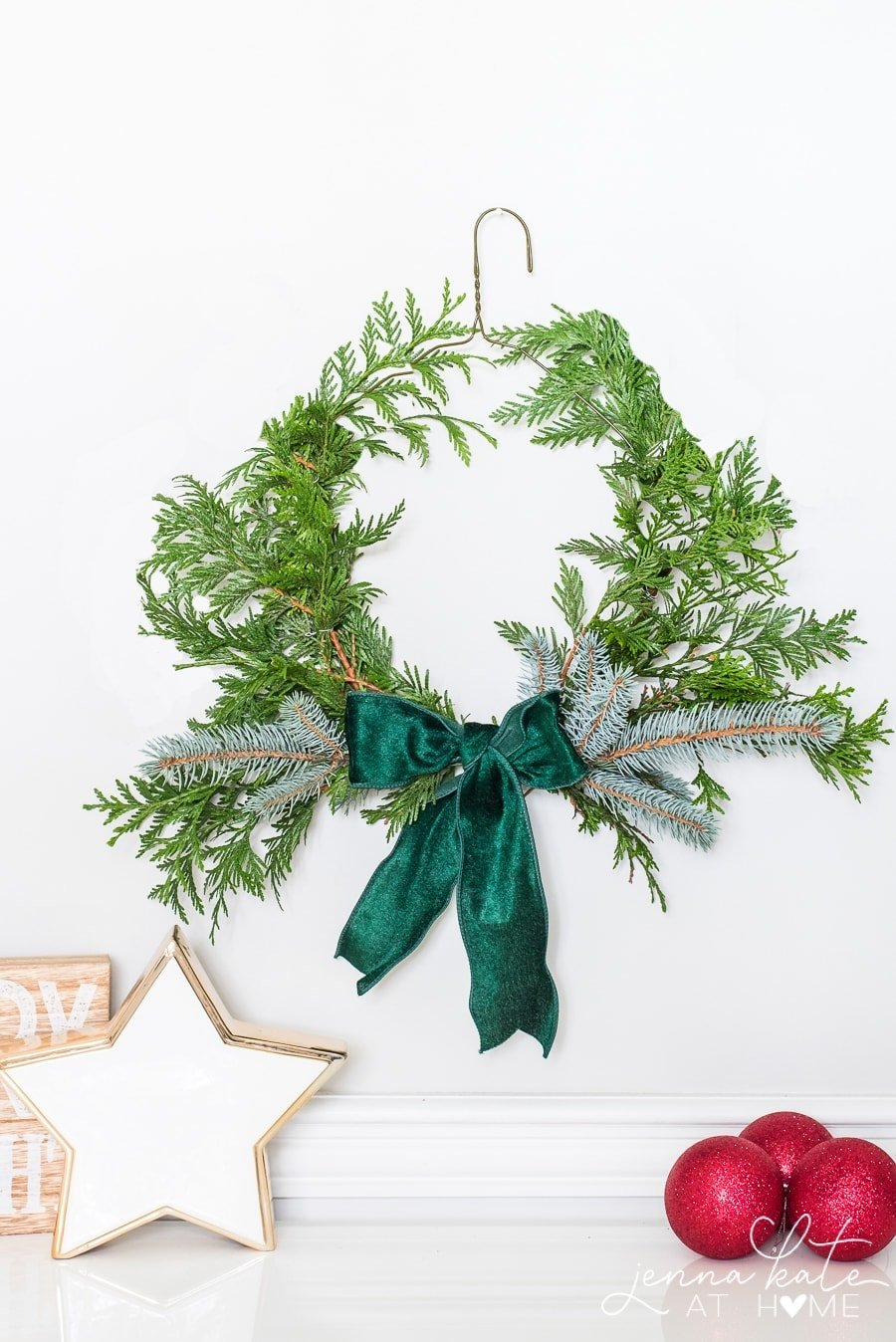DIY Wire Hanger Evergreen Christmas Wreath - Jenna Kate at Home