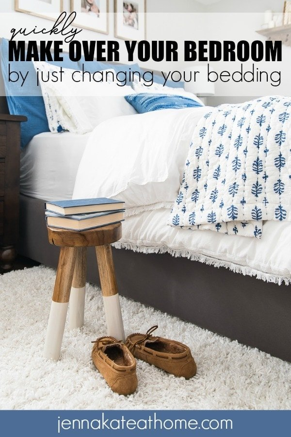 Give your masted or guest bedroom an entirely new look by simply switching up the bedding! You're going to love the coastal blue and white vibe of this pretty bedroom and its all thanks to what's on the bed!