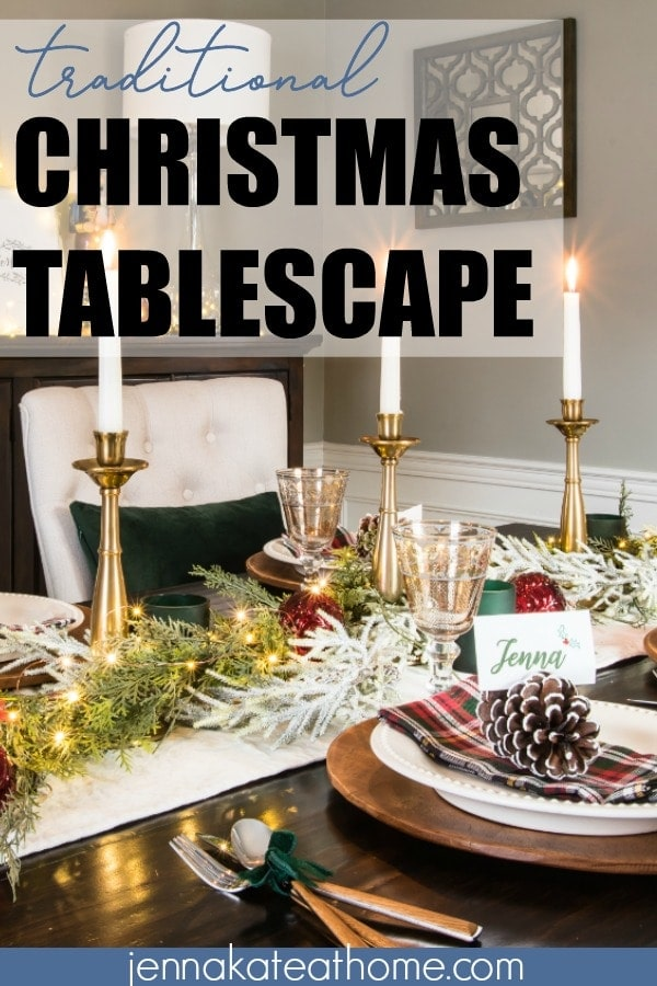 Add an elegant touch to traditional Christmas table decor by adding rich green velvet, deep burgundies and natural wood for a modern, rustic touch.