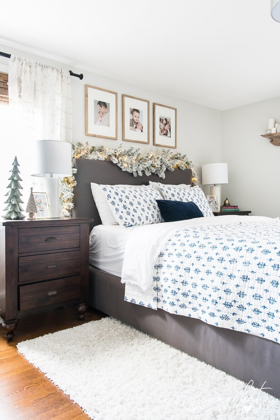 Bedroom decorated simply for Christmas
