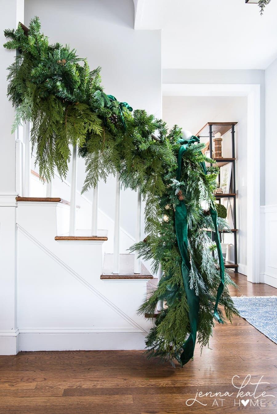 DIY stair garland