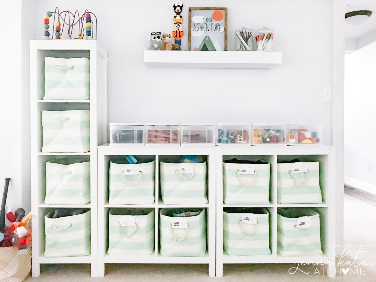 Toy organization using cubbies and small fabric totes with labels