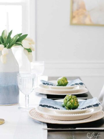 Tulips and artichokes for the perfect simple spring tablescape