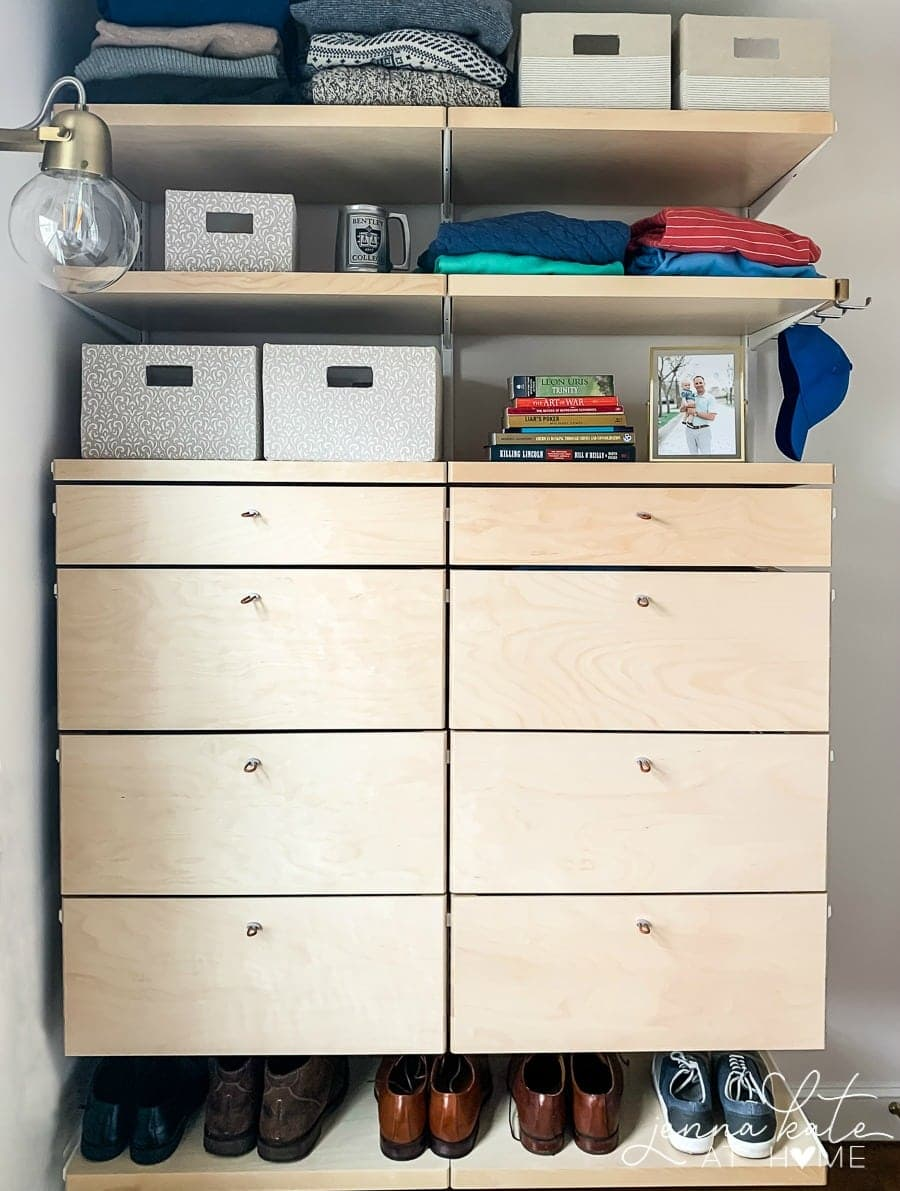 Simple ideas for extra storage in a small walk in closet