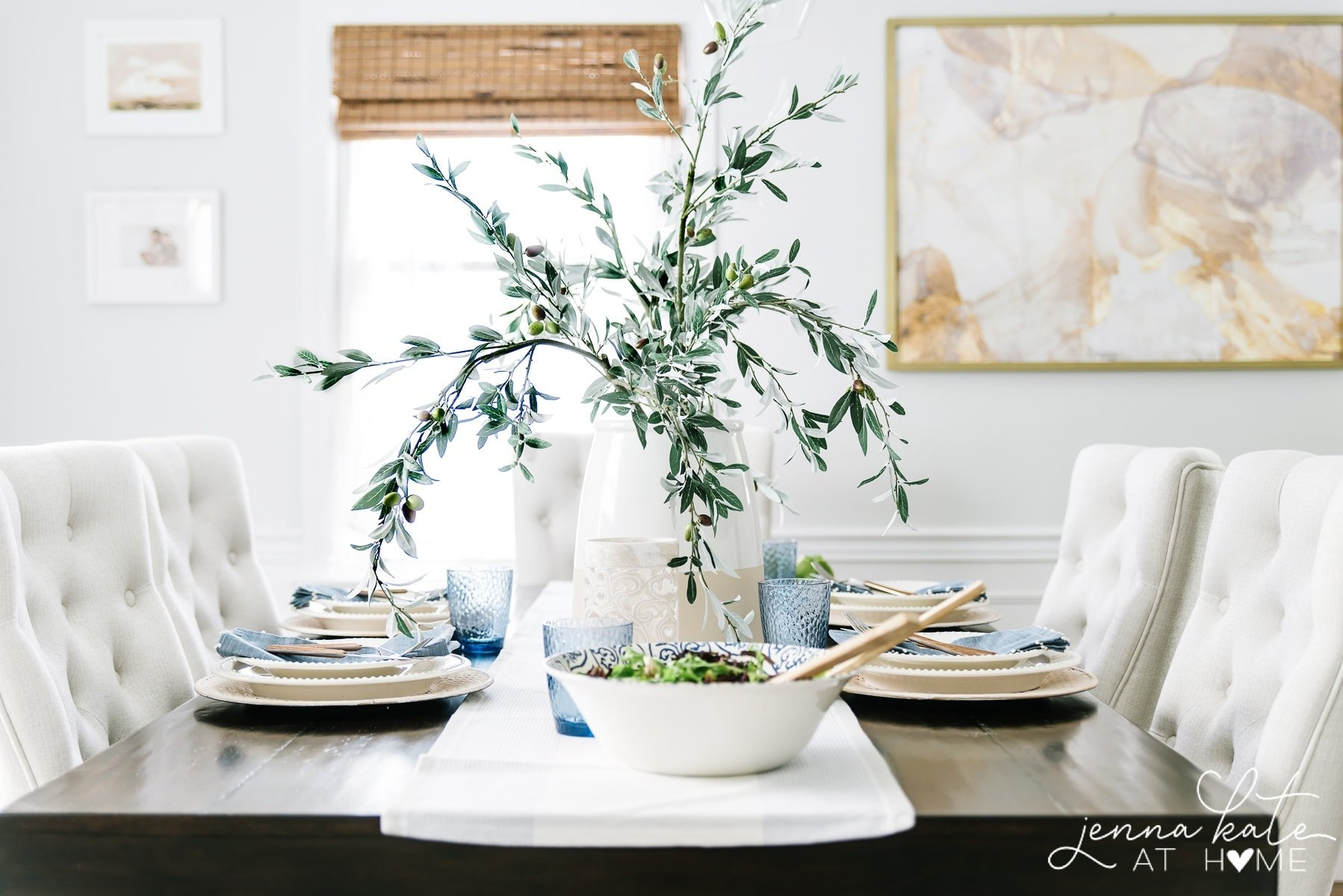 summer table setting with white and blue