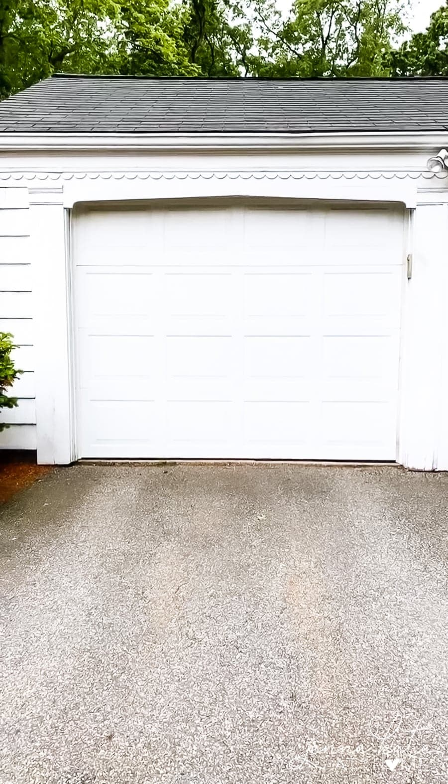 Plain garage doors before makeover