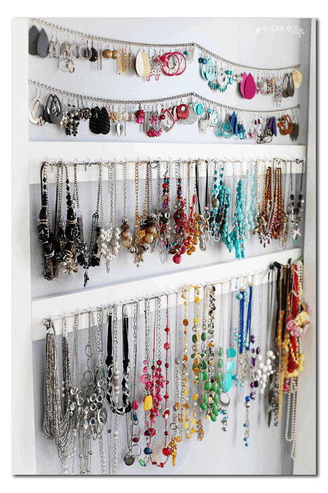 DIY necklace rack on wall