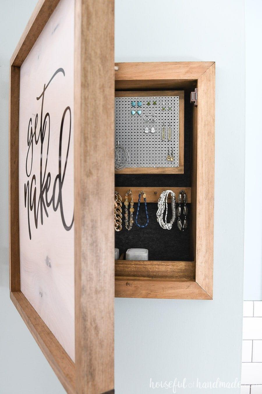 DIY hanging wall jewelry organizer mini cabinet