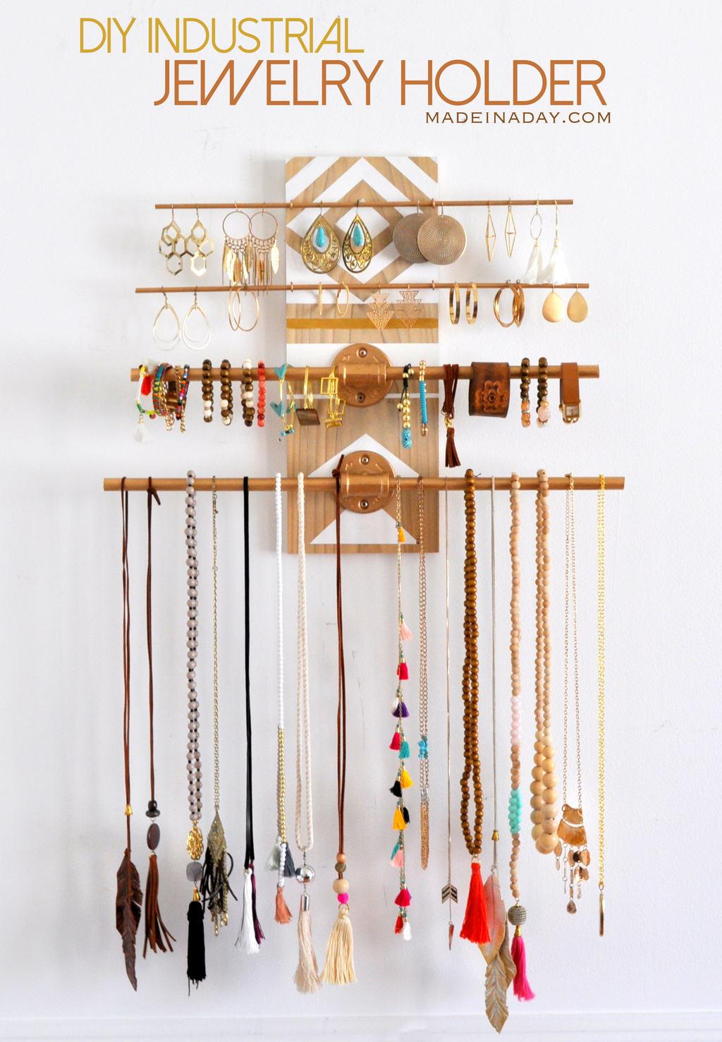 industrial style jewelry organization DIY