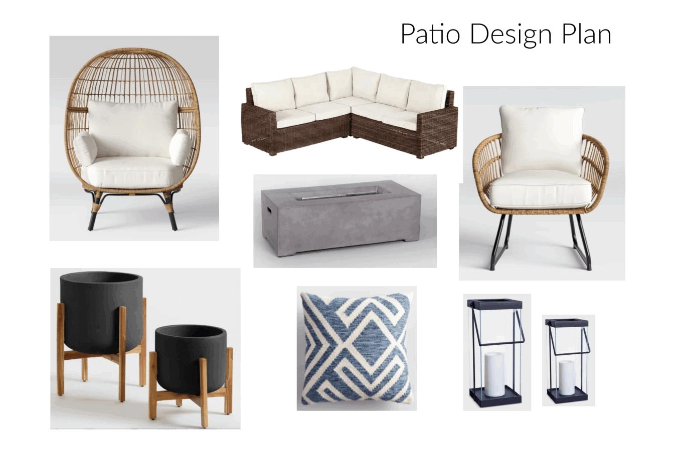 Modern boho patio design plan