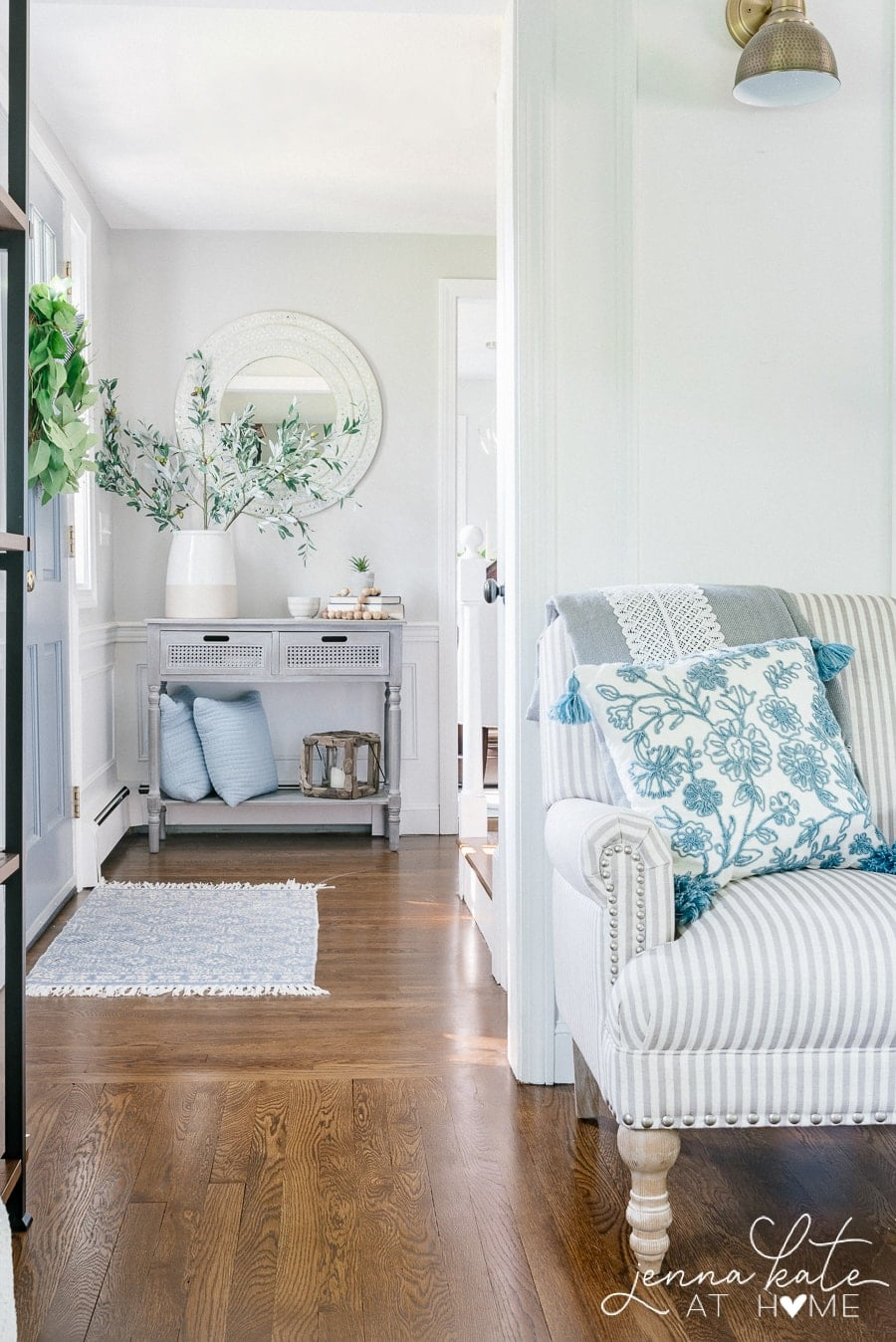 Decorator's White entryway with repose gray walls