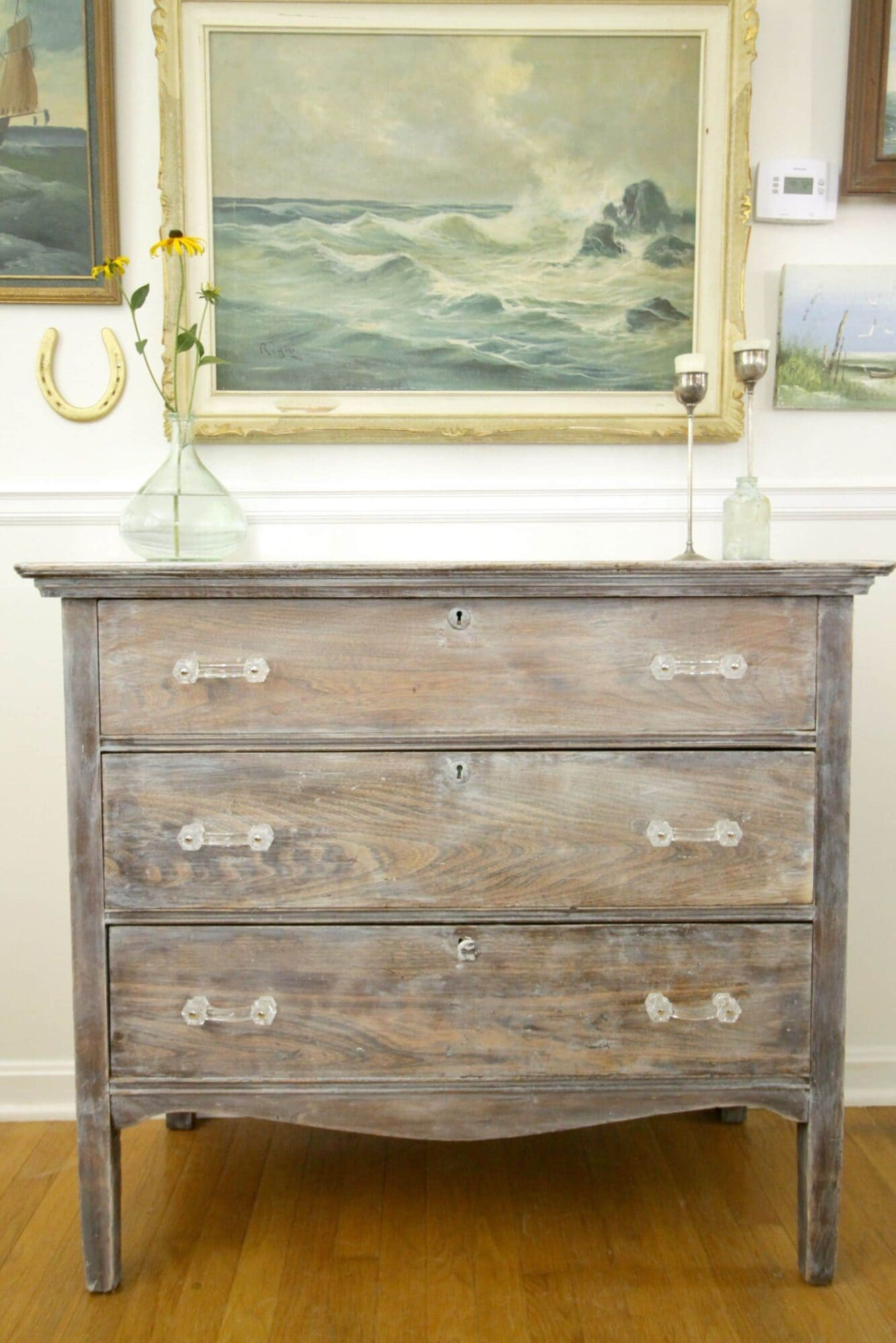 white washed restoration hardware style dresser