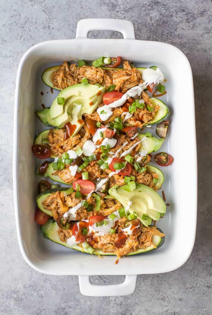 BB chicken zucchini boats