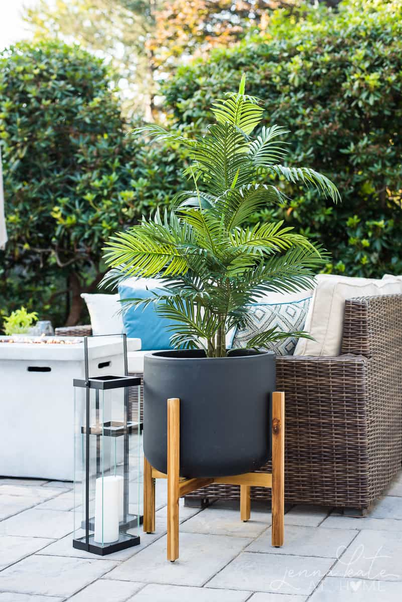 Faux outdoor plants for patio decor