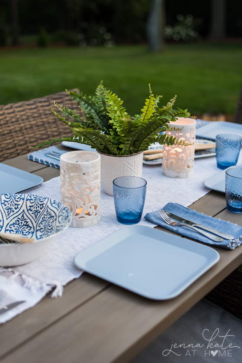 Patio table with simple summer tablescape