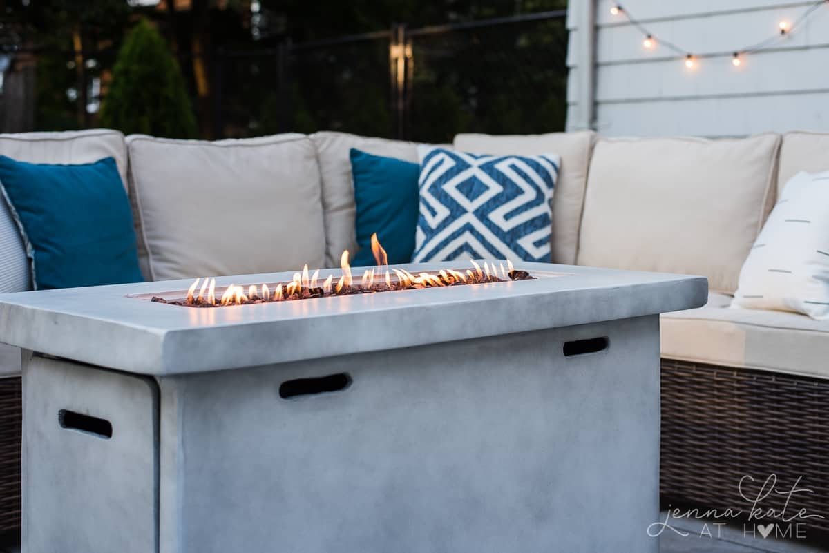 Rectangular gas firepit for outdoor patio decor