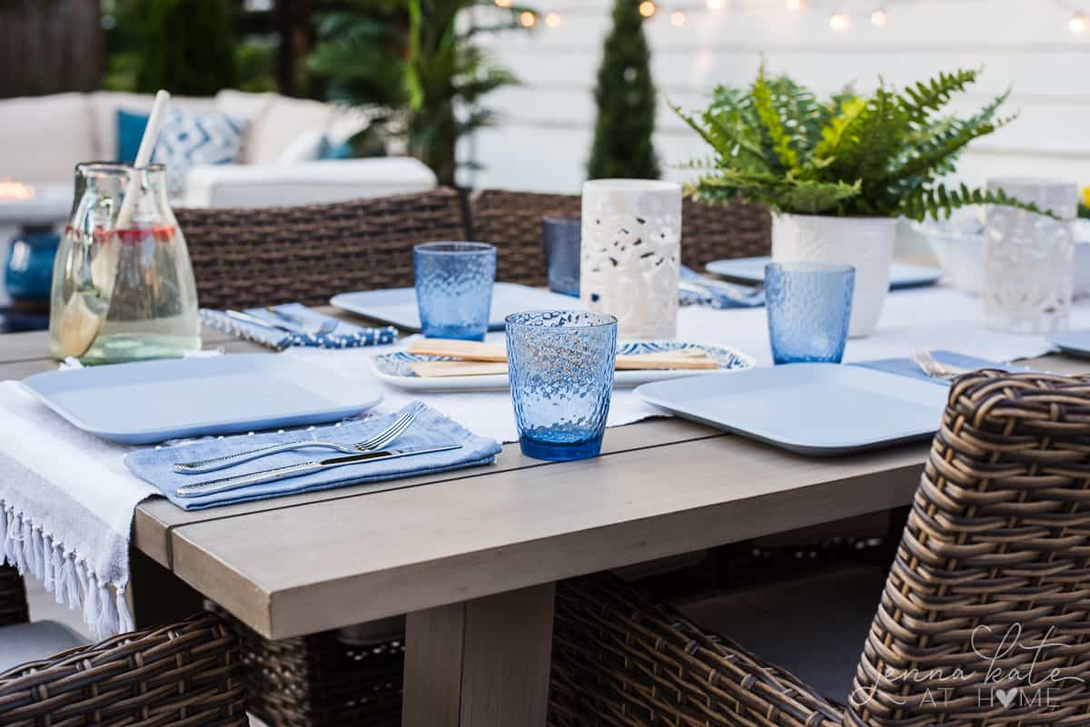 This colorful blue glassware looks great with our coastal themed patio table
