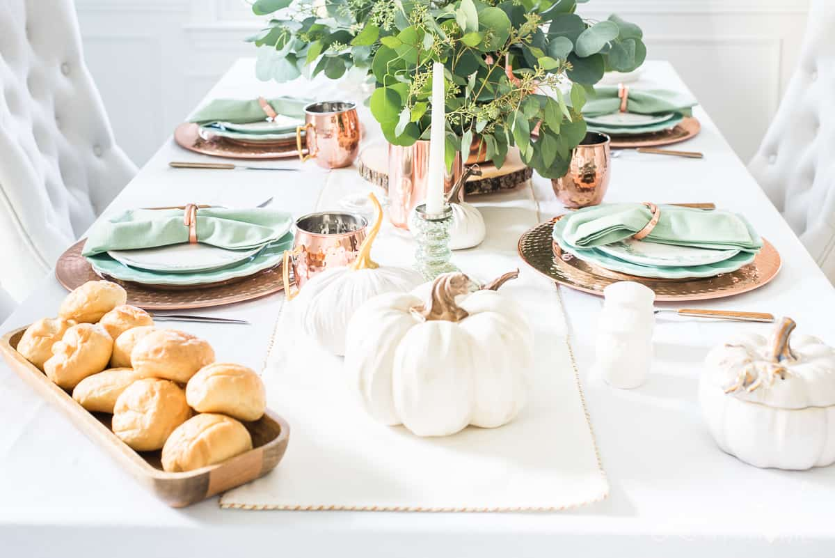 Fall table decor ideas with copper