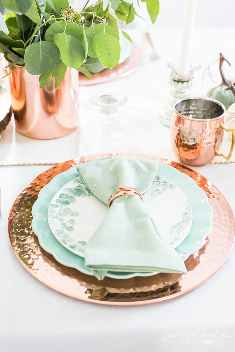 Decorating with copper and green for fall