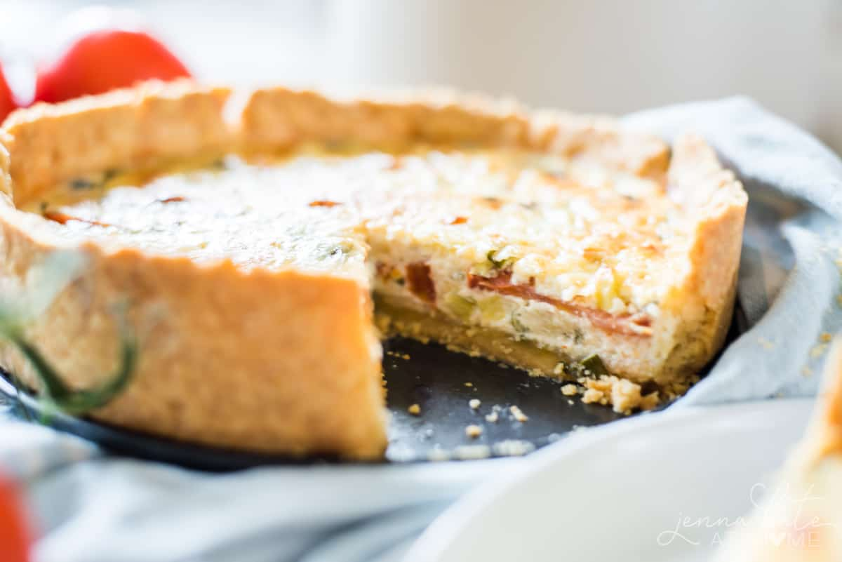 Just like a quiche, this quick tomato pie recipe is delicious both fresh-baked and cold as leftovers