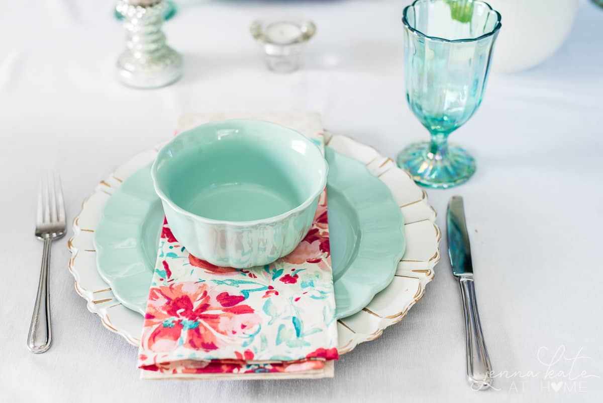 Affordable dinnerware from Walmart in pretty pastel colors