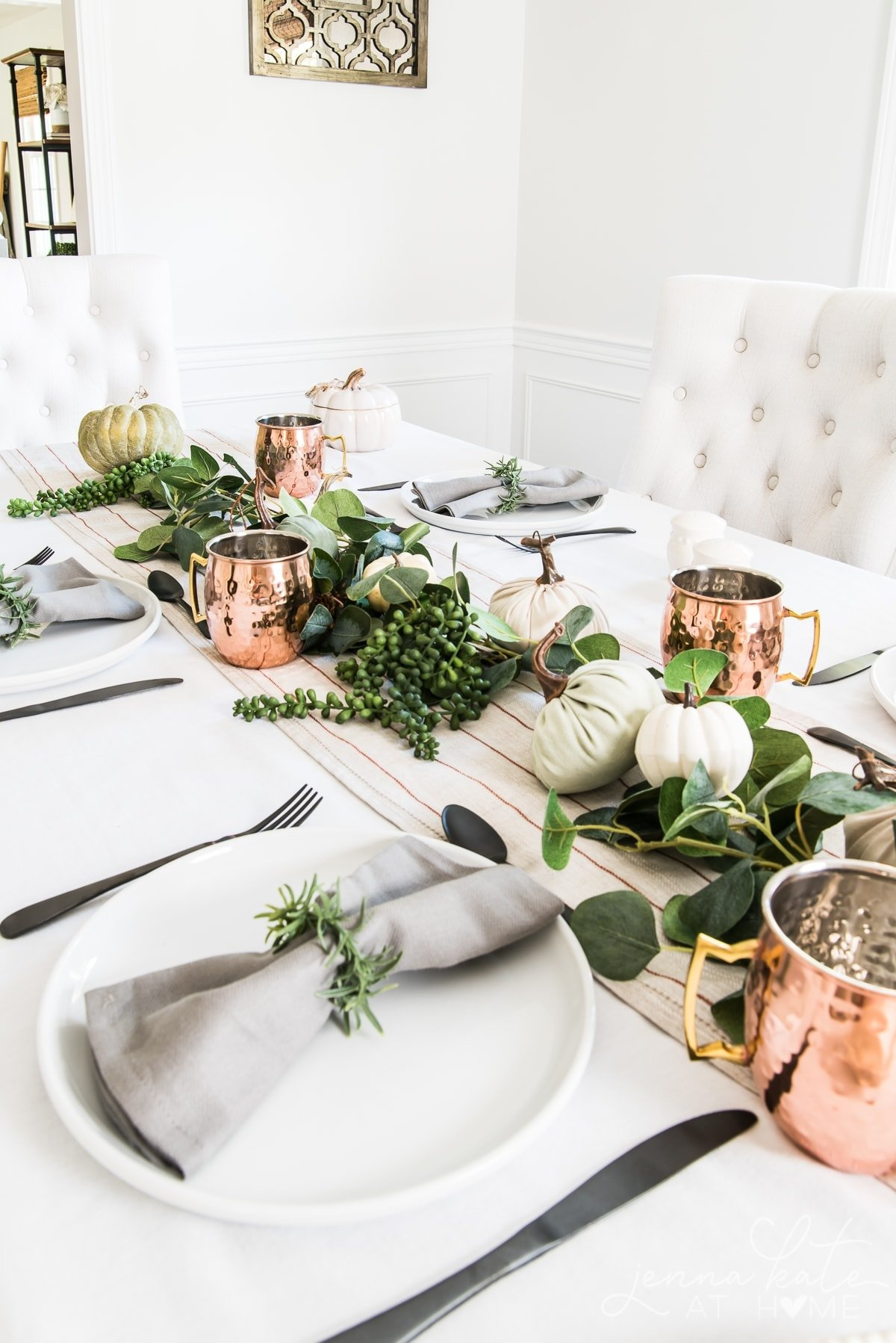 Modern fall tabletop decor with black, white, copper and green