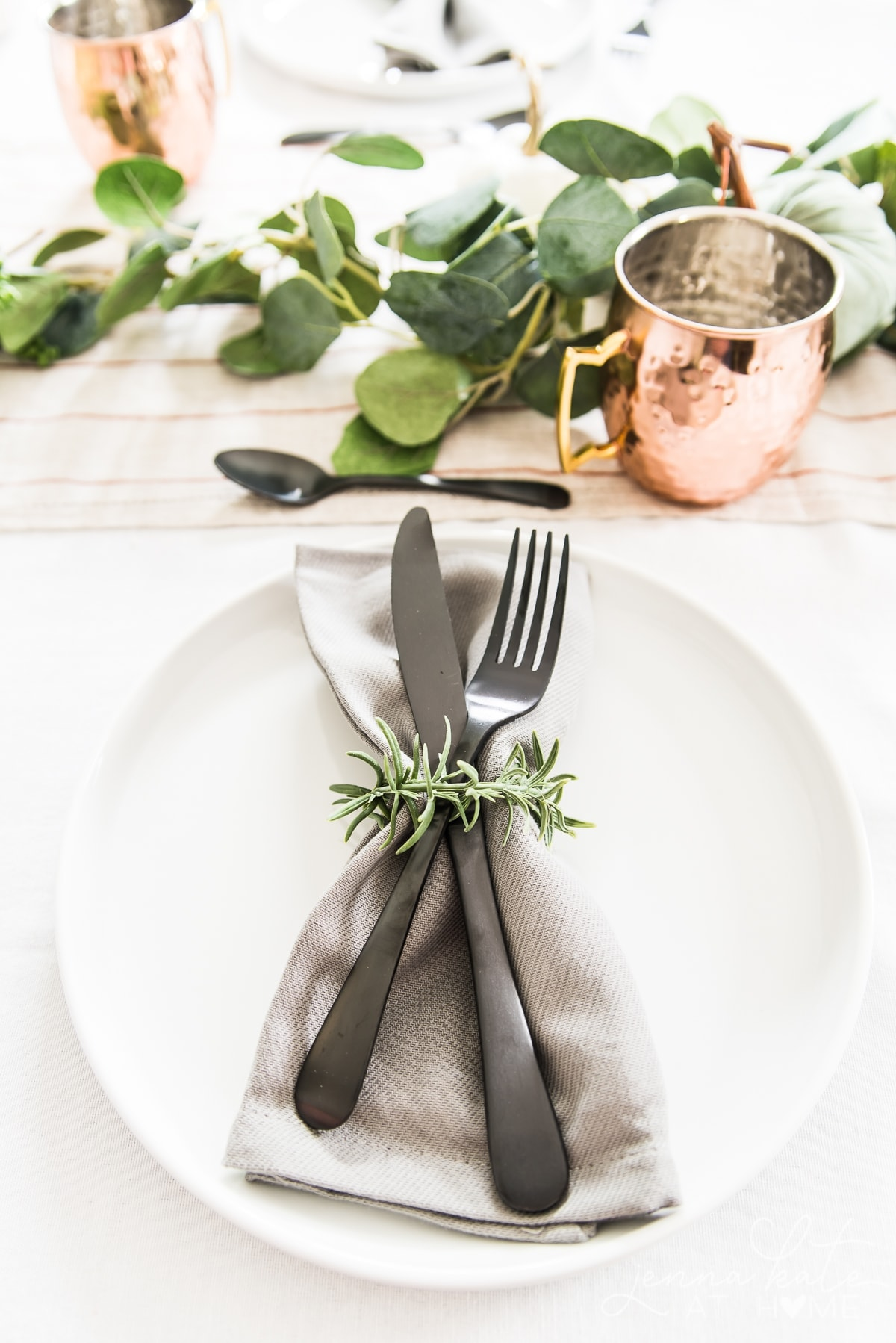 New table runner and black flatware for fall tabletop decor