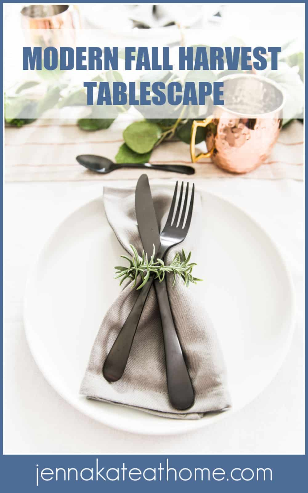 a modern and elegant fall harvest tablescape