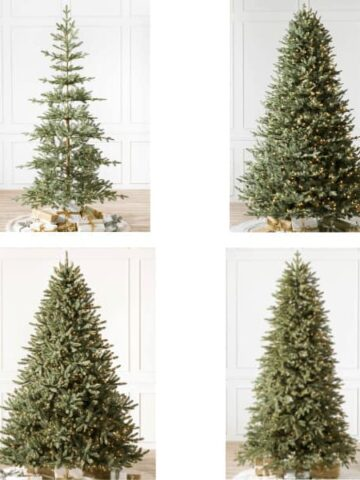 Collage of artificial Christmas trees