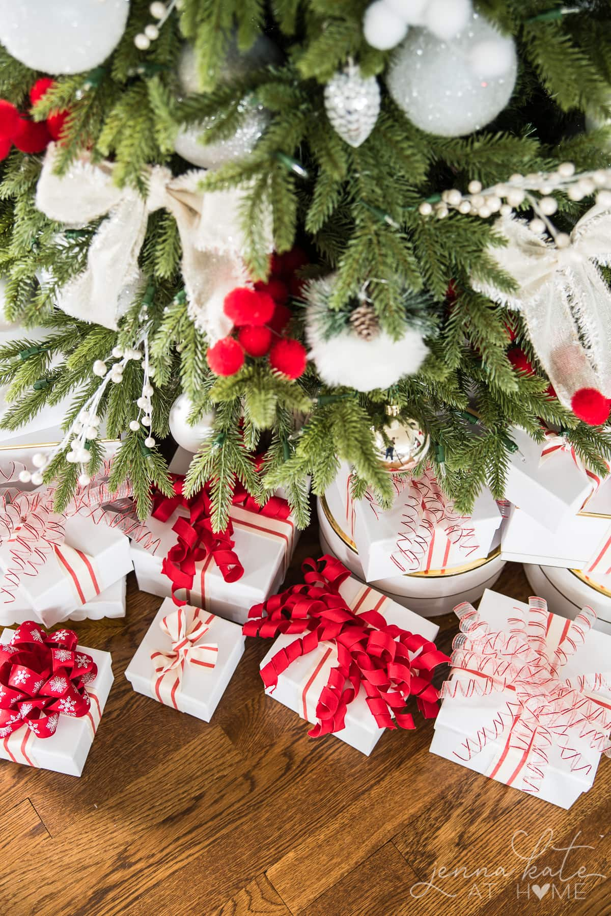 Coordinate tree ornaments with gift wrapping