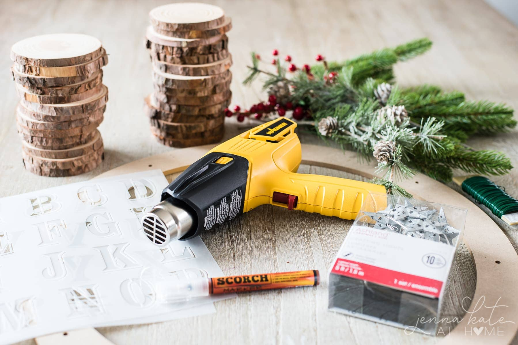 Materials needed for a wood slice wreath