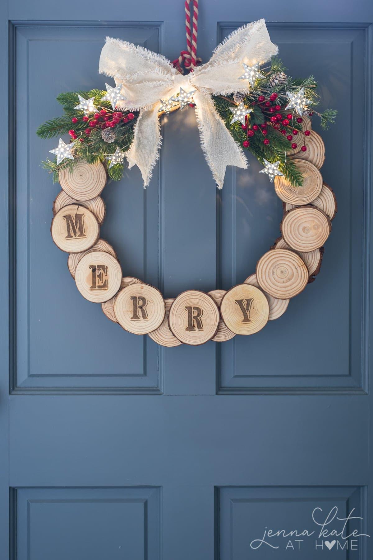 DIY wood slice holiday wreath