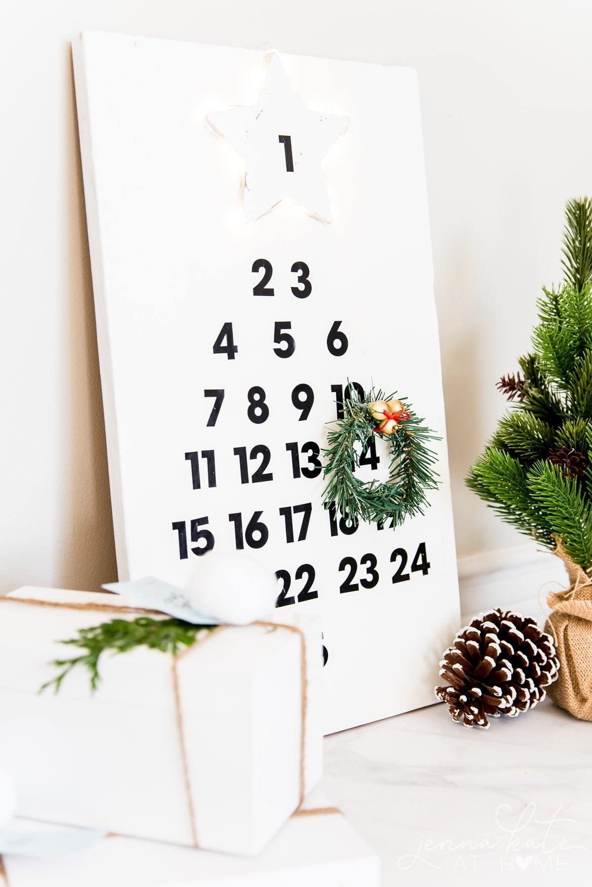 This DIY Wooden Advent calendar is simple Christmas decor
