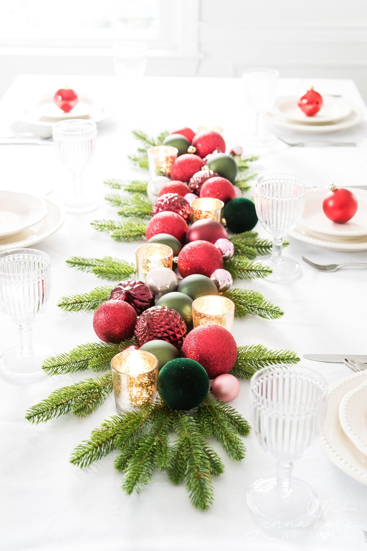 Quick and easy Christmas tablescape using tree ornaments