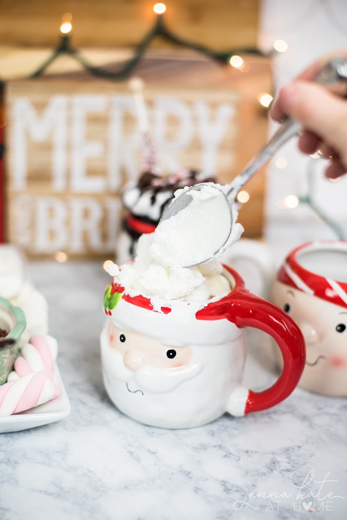 Top your customized cup of delicious hot chocolate with whipped cream