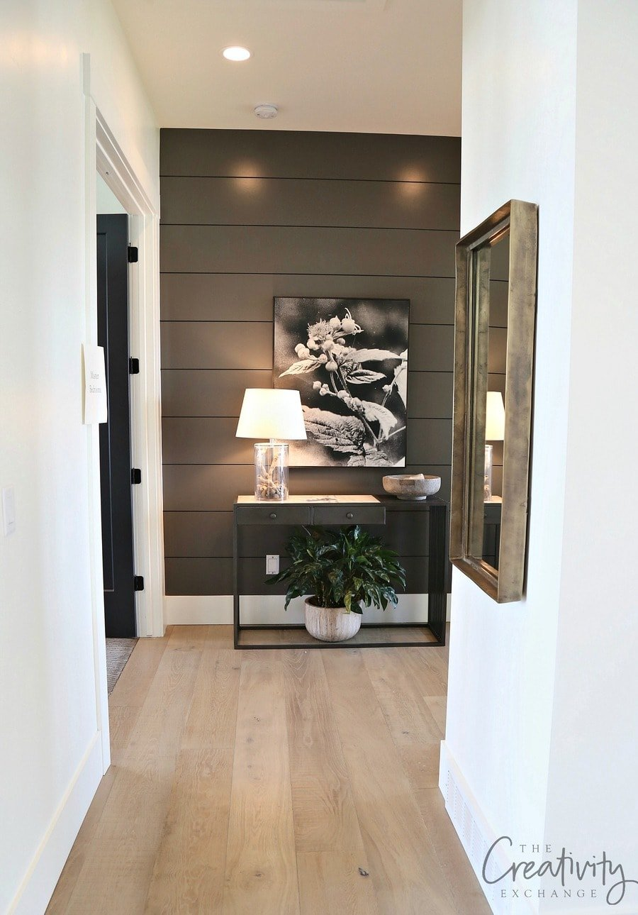 BM Charcoal Gray accent wall