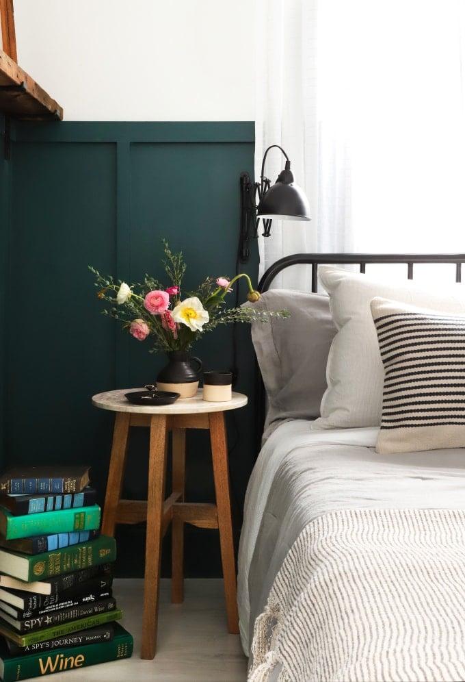 Behr Hostaleaf board and batten in bedroom