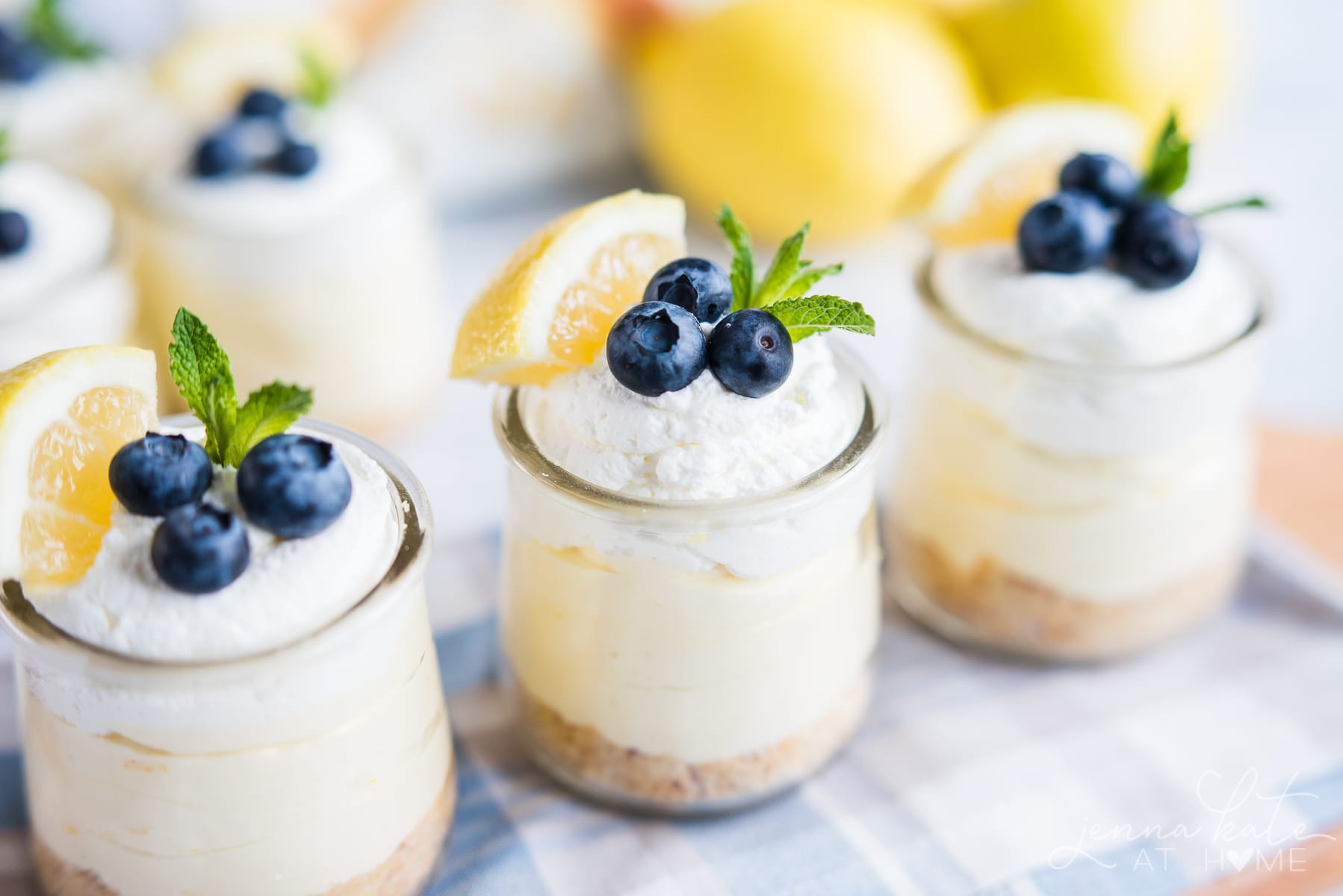 Trio of lemon mousse cheesecakes made with lemon curd