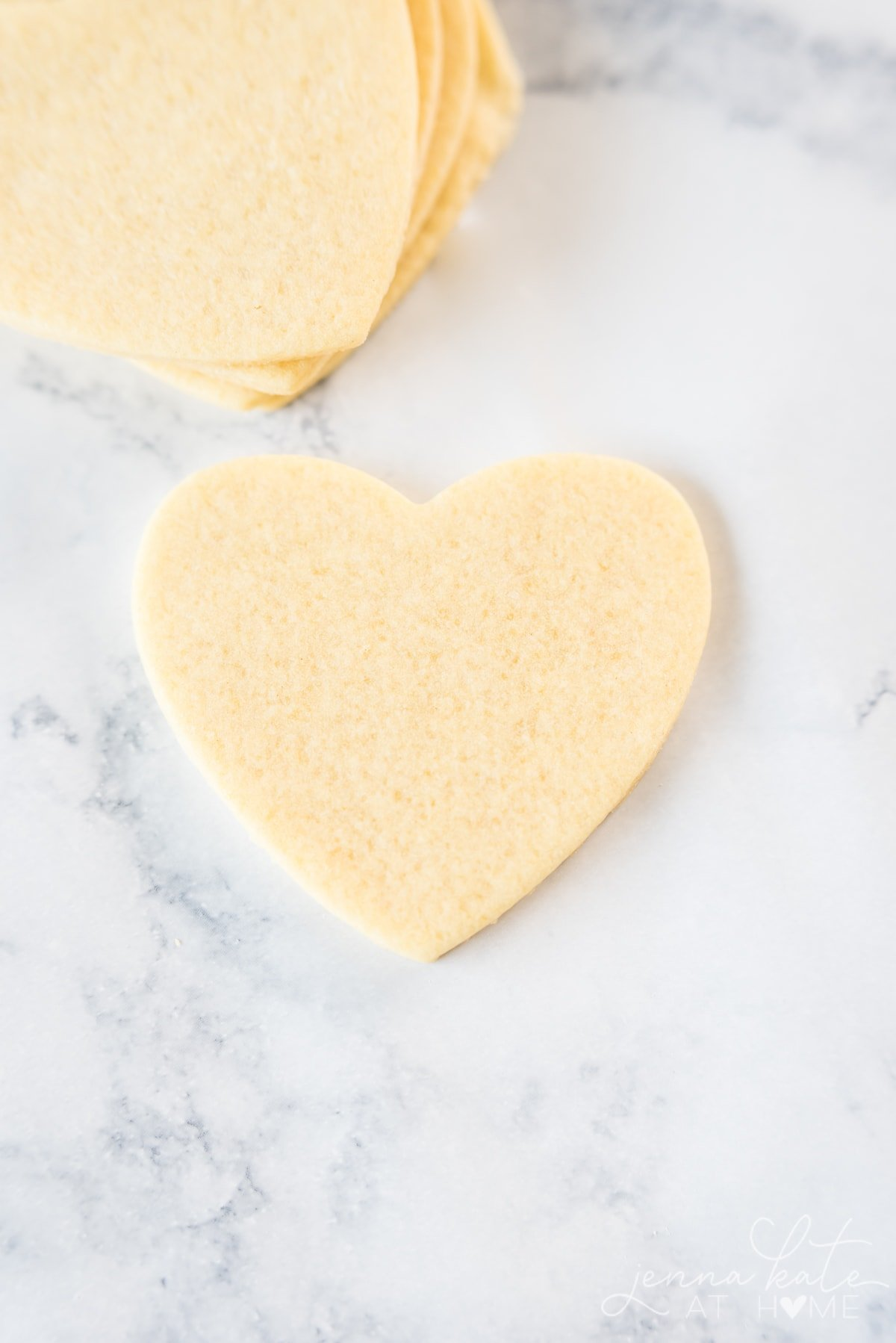 Cut out heart shaped sugar cookie