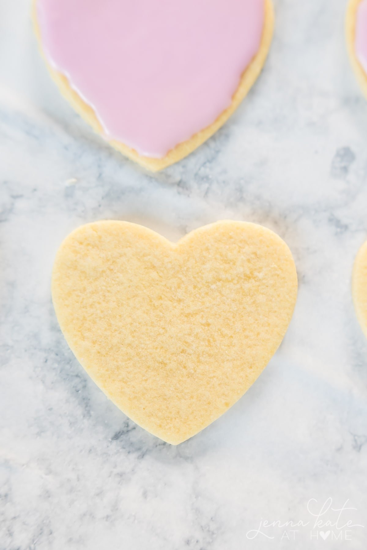 Rolled sugar cookie hearts