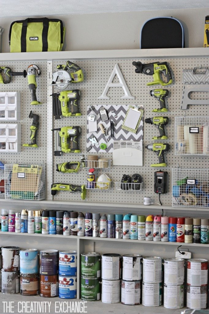 garage pegboard display with tools
