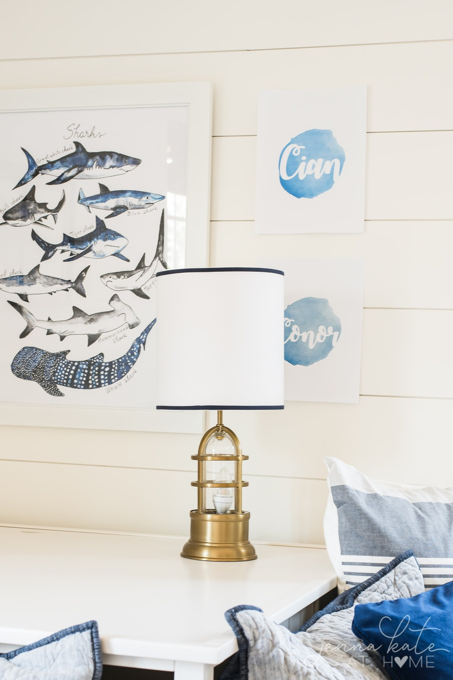 Nautical style bedroom lamp, shark print and DIY name signs