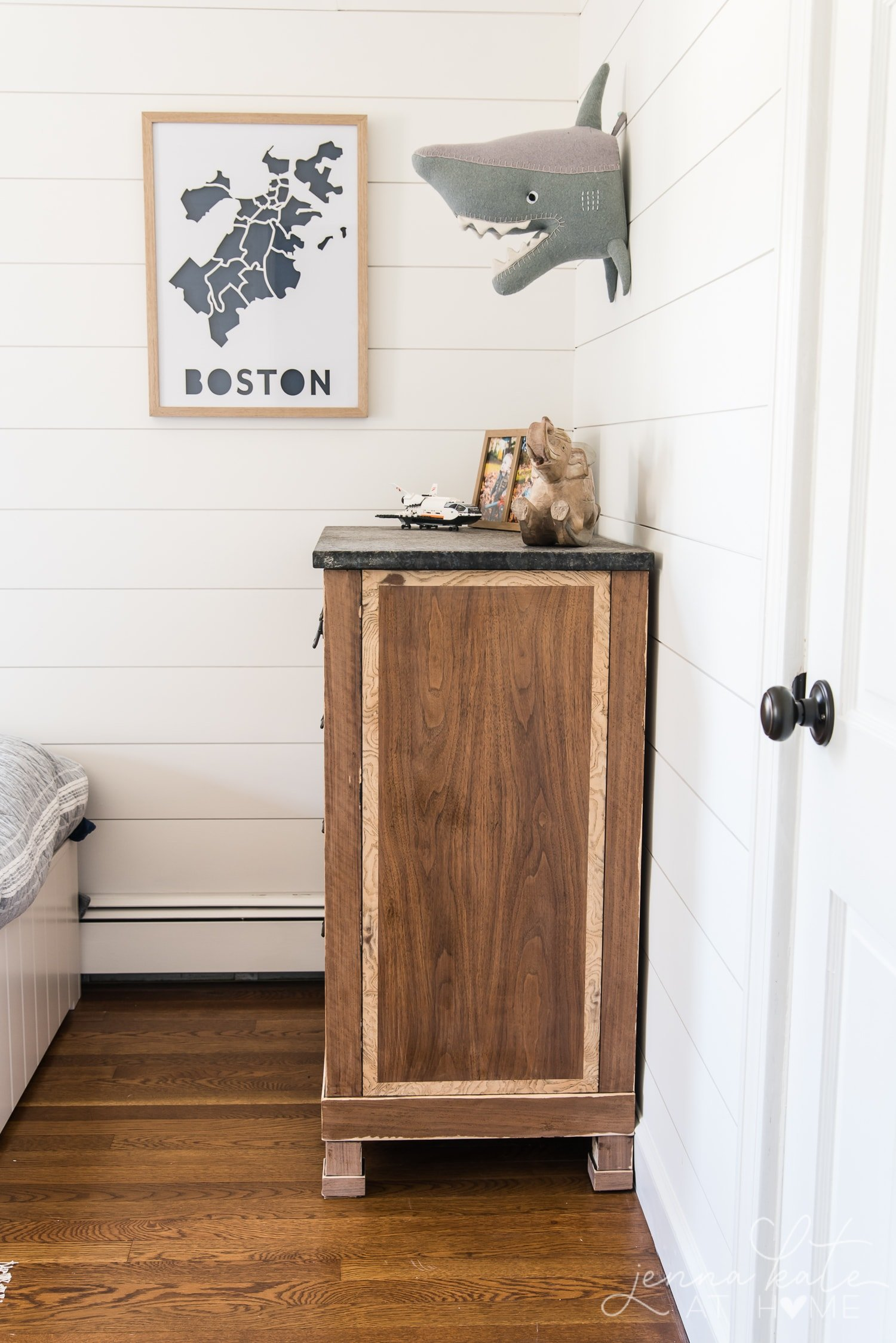 Shark head on shiplap wall makes this boys bedroom look awesome!