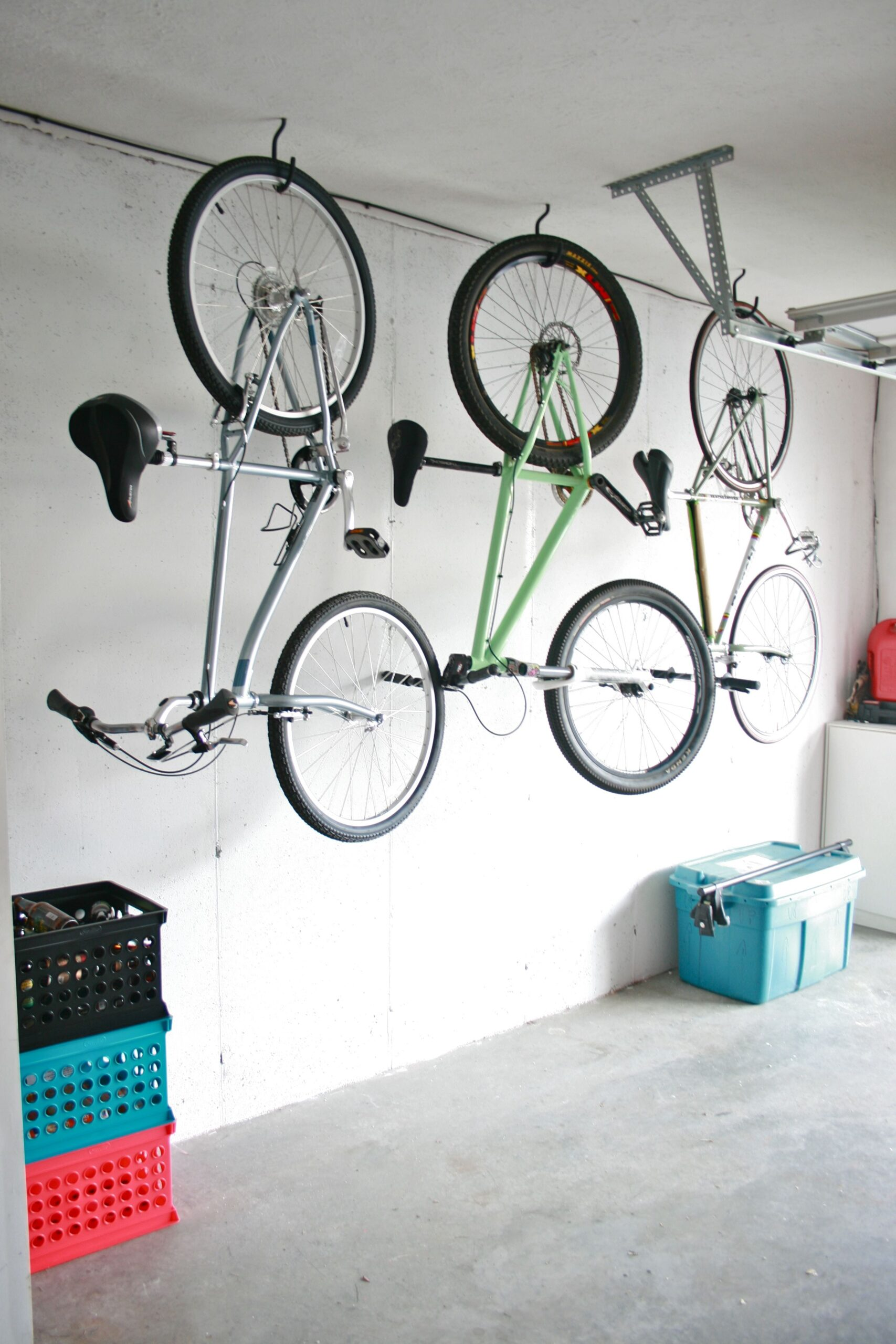 Bikes hanging from ceiling in garage