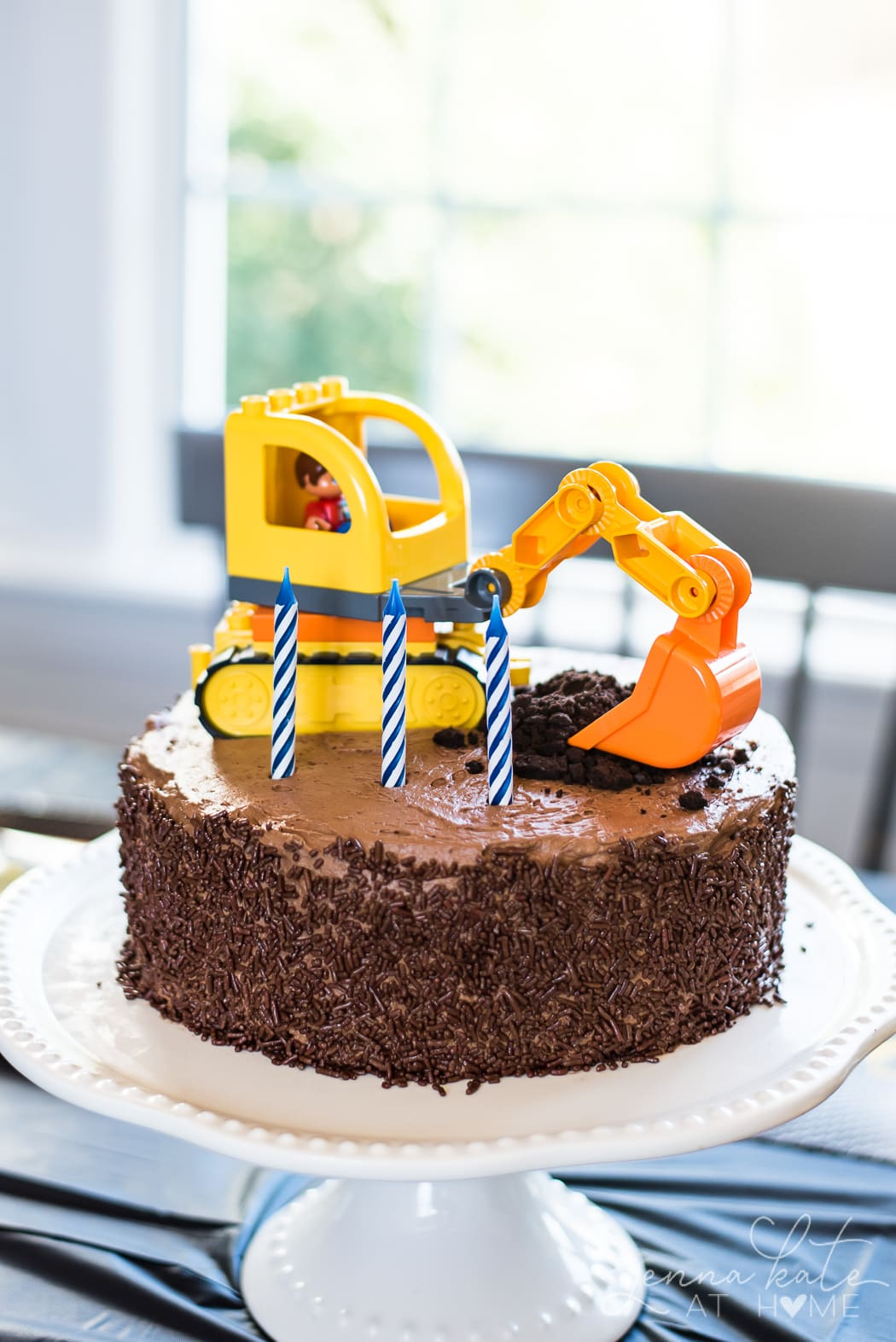 Easy toddler boy birthday cake with construction theme.